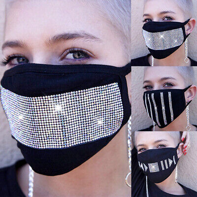Women Rhinestone Haze Proof Breathable Protective Mask Face Mouth Cover Trendy Accessories
