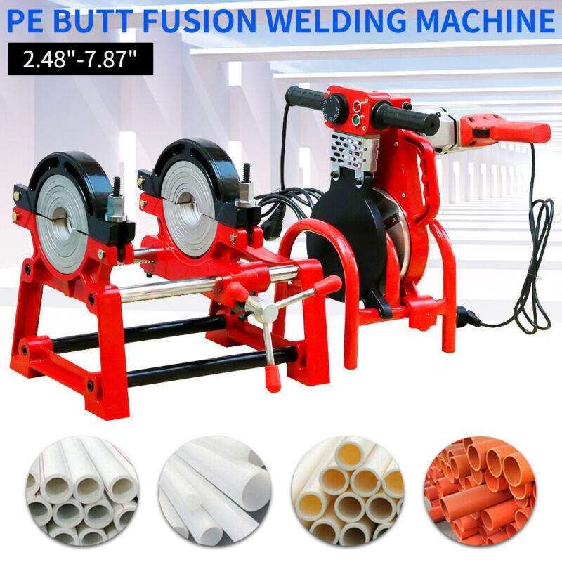 Manual Pipe Butt Fusion Welder PE HDPE PB PVC Piping Welding 2 Clamps 110V