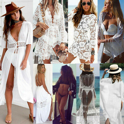 Women Lace Crochet Summer Beach Bikini Cover Up Long Swimwear Dress Bathing - Lace Covered Dress