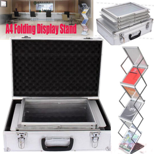 A4 Portable Lite Literature Stand Carry Case Foldable Brochure Rack Exhibition