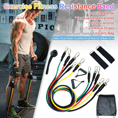11 Pcs Yoga Pilates Resistance Band Set Exercise Fitness Tube Workout Bands ABS