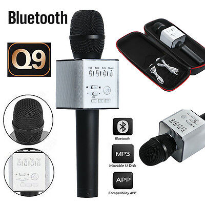 Q9 Wireless Karaoke Microphone Portable Bluetooth KTV Mic Speaker USB Player