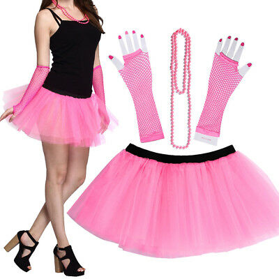 US 3PCS Fashion 80's Neon Women Tutu Skirt Beads Hen Fancy Dress Party Costumes (Neon Tutus)