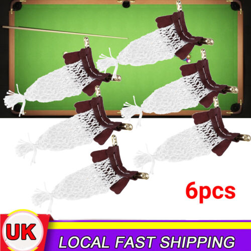 6Pcs Cow Leather Billiards Tables Nets Snooker Pockets Sets Bag Replacement Kit
