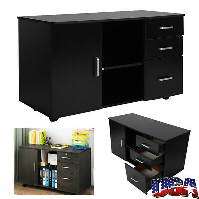 Rolling Wheels Storage Cabinet File Cabinet For Office Home 3 Drawers 1 Door