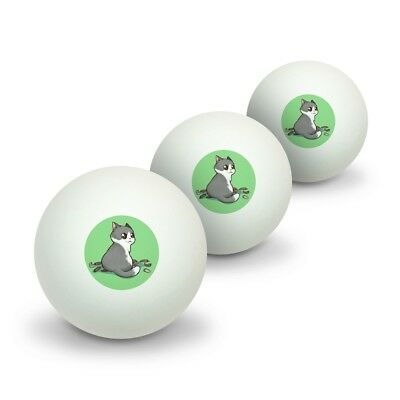 Kawaii Cute Cat with Bird Feathers Novelty Table Tennis Ping Pong Ball 3 Pack