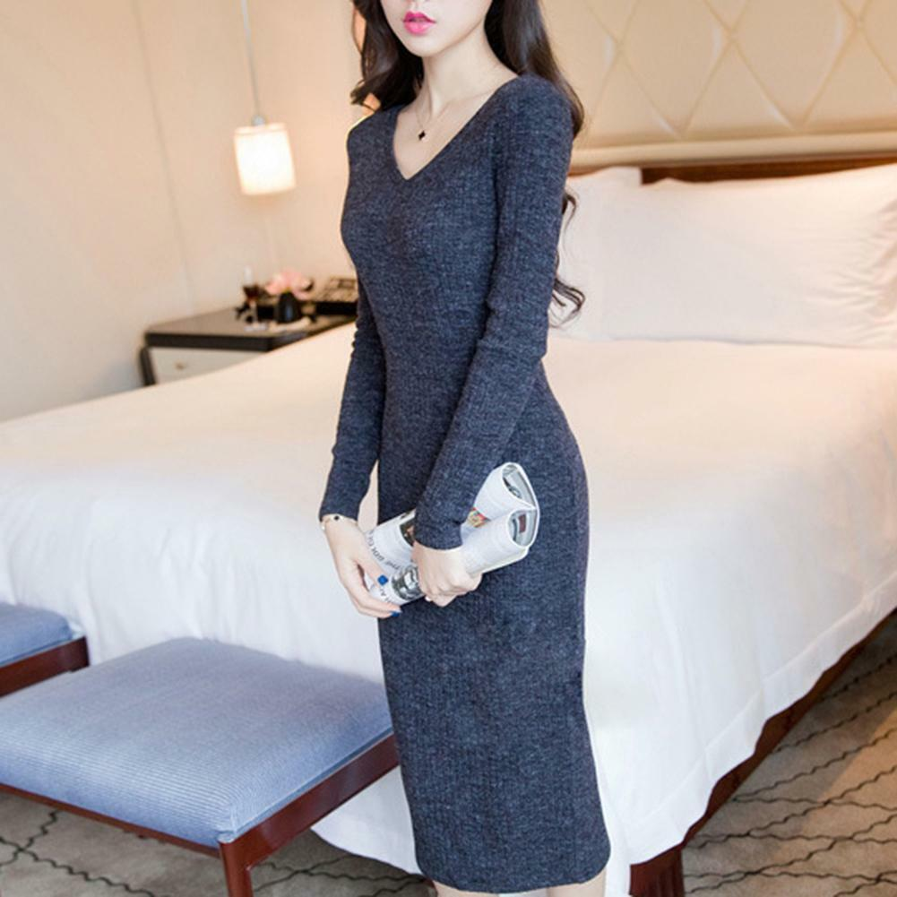 Fashion Women Winter Knitted Sweater Bodycon V Neck Long