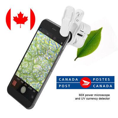 60x Portable Clip Magnifier Loupe Uv Microscope Universal Mobile Phone Mini Led