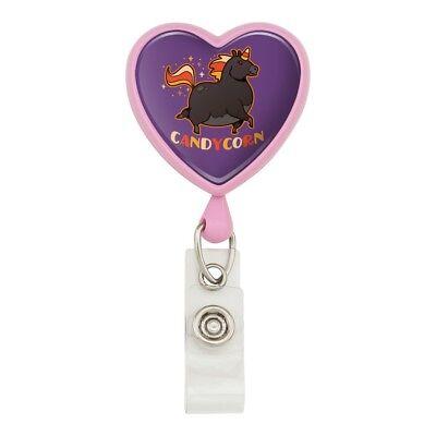Candycorn Candy Corn Unicorn Halloween Heart Lanyard Reel Badge ID Card Holder