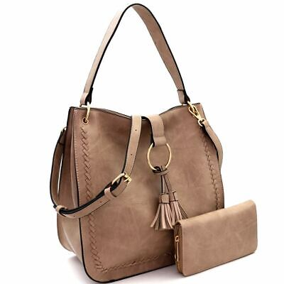 Tassel Accented Hobo Handbag - Tassel Ring Accent Whipstitched PU Leather Hobo Bag and Wallet SET
