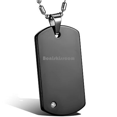- Engravable Tungsten Carbide Army Style Mens Dog Tag Pendant Necklace w Chain