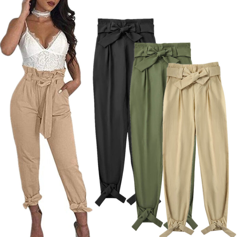 Women Solid Casual Work Trousers High Waist Ruffle Bow Tie Pants Pencil Trousers
