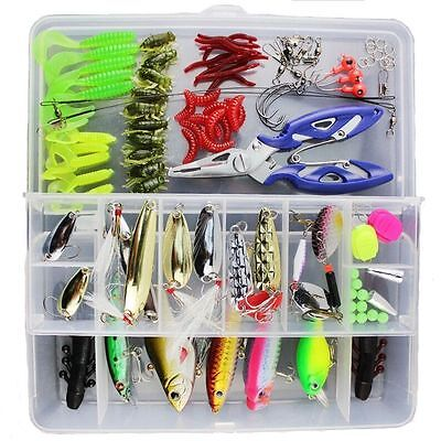 Lot 101pcs Kinds of Fishing Lures Crankbaits Hooks Tackle Minnow Bass Baits +Box