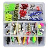 Lot 101pcs Kinds of Fishing Lures Crankbaits Hooks Tackle Minnow Bass Baits +Box