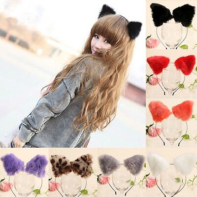 Cute Women Girls Fluffy Cat Fox Ears Headband Anime Cosplay Party Costume Props