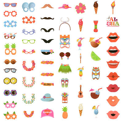 Photo Booth For Parties Diy (60pcs Hawaii DIY Photo Booth Props for Summer Holidays Beach Luau Party Favors)
