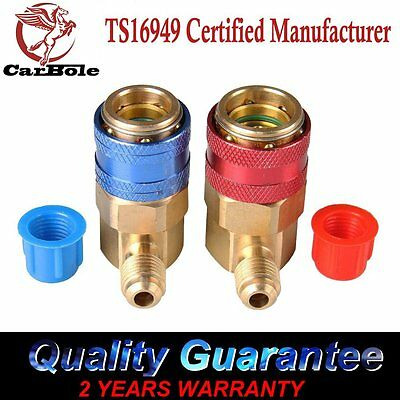 Car R134a A C Manifold Gauge Conversion Kit High   Low Quick Coupler Adapter New