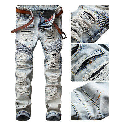 - Men Bleached Light Blue Straight Biker Jeans Ripped Distroyed Slim Denim Pants