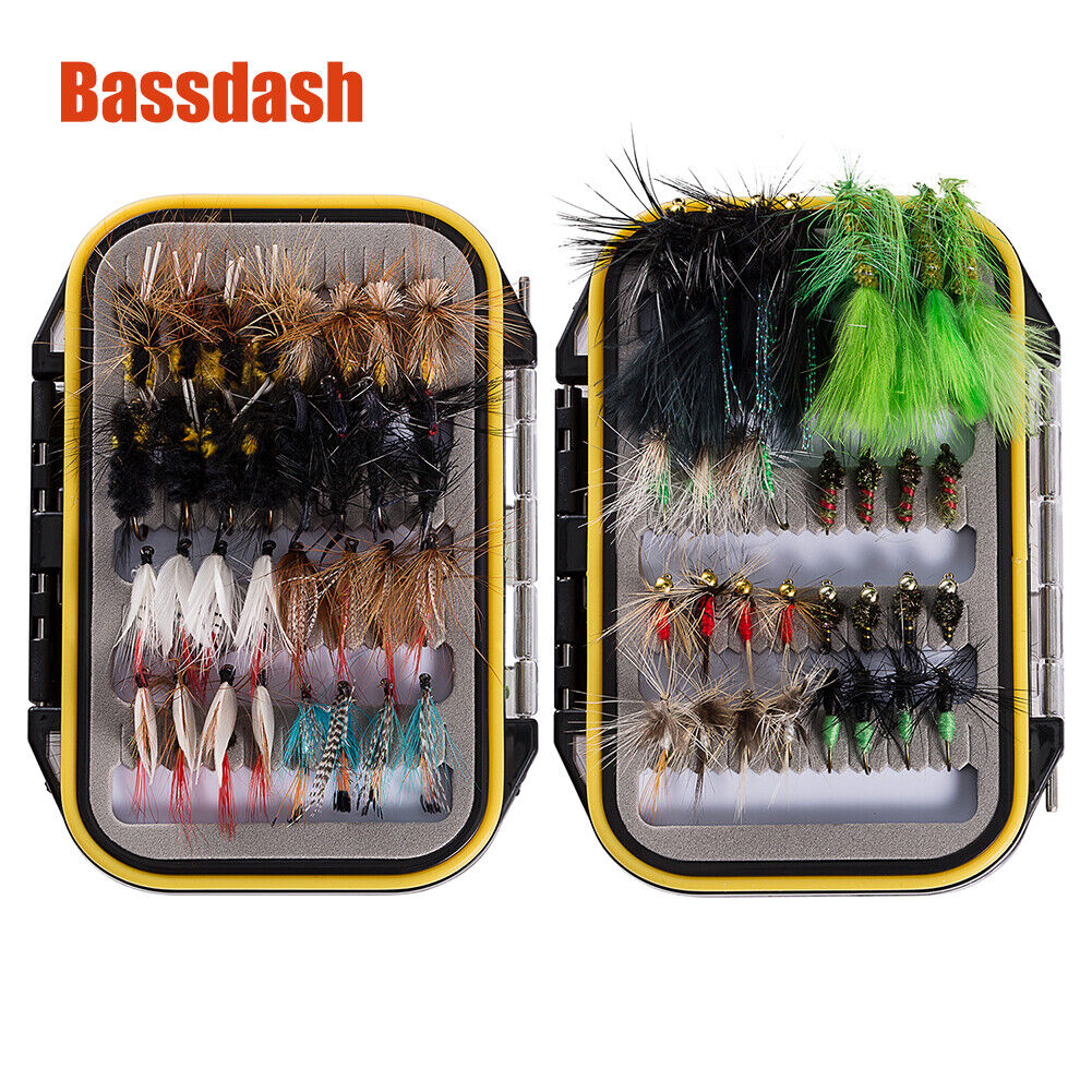 Bassdash 80 Pcs//Set Mixed Trout Fly Fishing Flies Wet Dry Nymph Buzzers Lure New