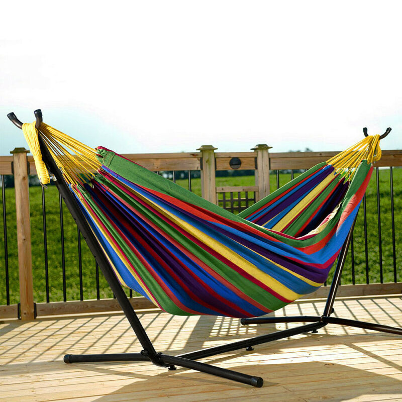 Double Hammock Hanging Rope Chair Lounger Porch Swing Seat S