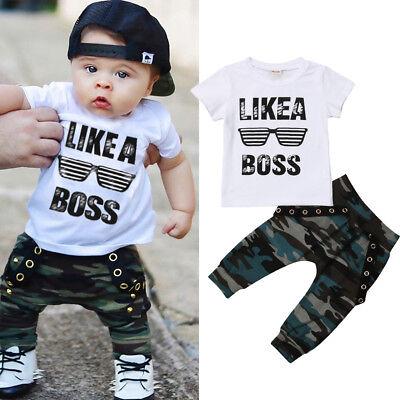 USA Street Toddler Baby Boys Hip Hop Tops T-shirt Camo Pants Outfits Set Clothes ()
