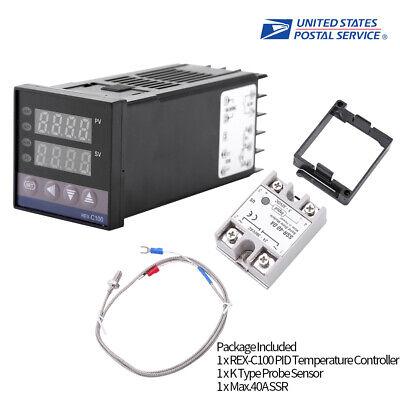 Thermocouple K//Temperature Sensor 0-1300 ℃ Temperature Controller Kits Max 25A SSR 110V-240V Digital Alarm Led Pid Temperature Controller