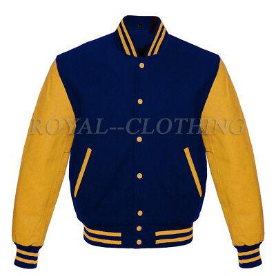 Varsity Baseball Letterman Navy wool & Genuine Gold Leather Sleeves Jacket