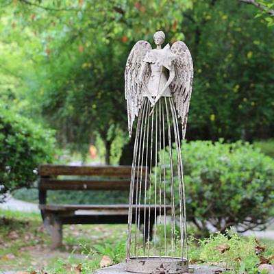 Angel Garden Statue W/Star,  Antiqued Metal Yard Art Decor Lawn Patio Deco-26
