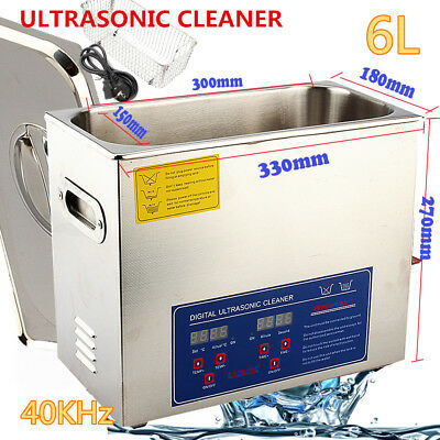 New Stainless Steel 6 L Liter Industry Heated Ultrasonic Cleaner Heater Wtimer