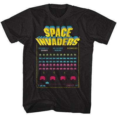 Space Invaders Alien Battle Arcade Game Men's T Shirt Atari Hi-Score Vintage Top