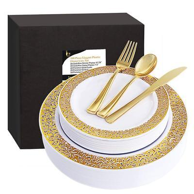 100 Piece Gold Plastic Plates with Disposable Silverware, Elegant Lace