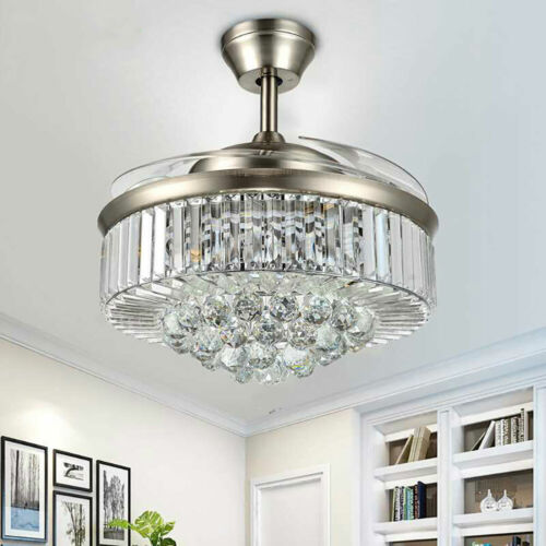 """42"""" Invisible Ceiling Fan Light Crystal Chandelier Pendant Lamp w/Remote - Silver 3"""