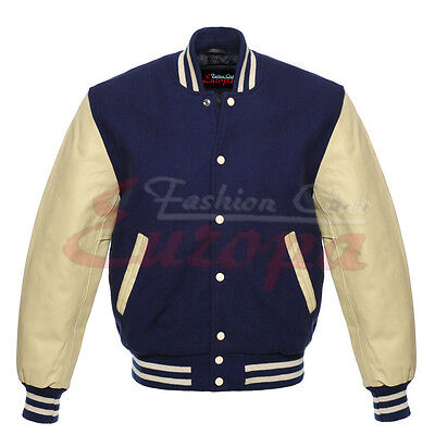 Navy wool Varsity Letterman Jacket with Cream Real Leather Sleeves XS-4XL - Wholesale Letterman Jackets