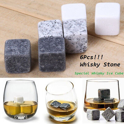 6 Pcs Marble Cubes Ice Stone Whiskey Drinks Chilling Cocktail Accessories New