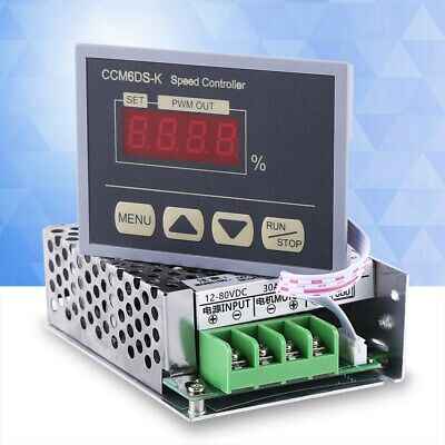 12-80v Pwm Dc Motor Speed Controller Governor With Digital Display Panel 30a Usa