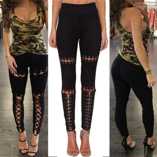 Women Skinny High Waist Jeans New Stretchy Pencil Pants Trousers Denim Leggings~