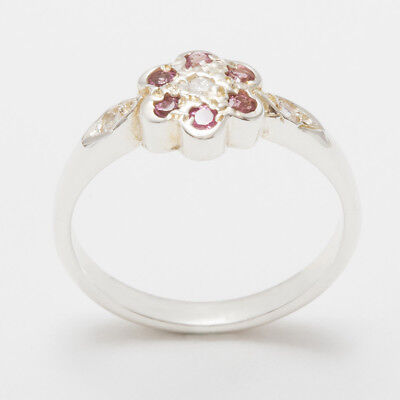 - 925 Sterling Silver CZ & Pink Tourmaline Womens Daisy Ring - Sizes 4 to 12
