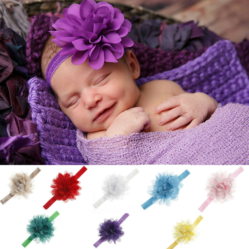 Newborn Headband Baby Girls Toddle Chiffon Flower Headwear Hairband Infant Gifts