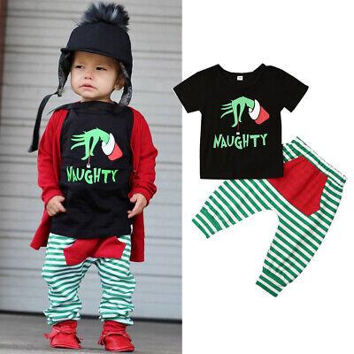 US 2Pcs Toddler Baby Boys Halloween Xmas Clothes Top T-shirt Stripe Pants Outfit