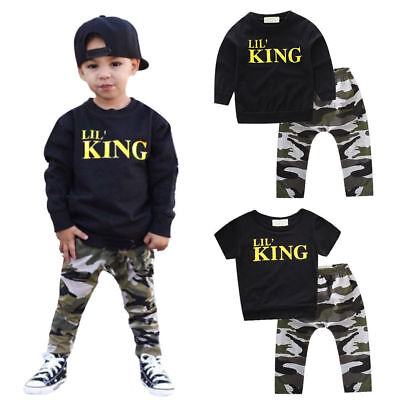 Holiday Outfits For Kids (King Tops T-shirts Long Pants Outfits For Baby Boys Holiday Street Kids Clothes)