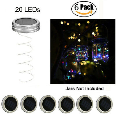 6 Pk Solar Mason Jar Lid Lights 20 LED Fairy String Lights Garden Decor Colorful - Colored Mason Jars Wholesale