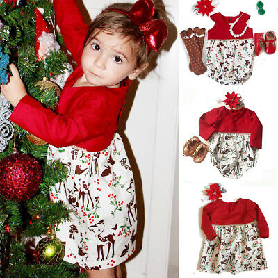 Cute Xmas Toddler Baby Girl Kid Deer Romper Bodysuit Dress Party Dresses Costume](Girl Deer Costume)