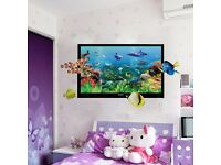3D Marine World Dolphin Fish Ocean Cartoon Colorful Wall Sticker Quote Decal