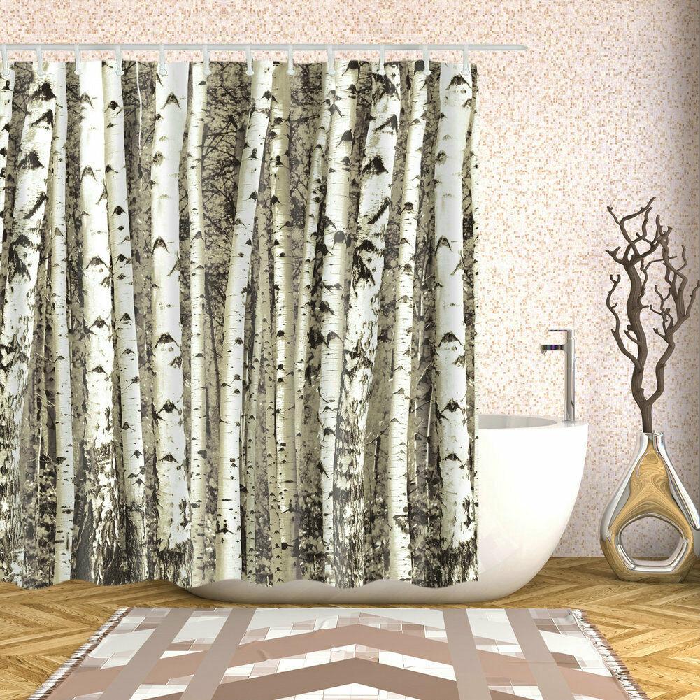 Shower Curtain Art Bathroom Decor Birch Trees Nature Themed Curtains 12 Hooks