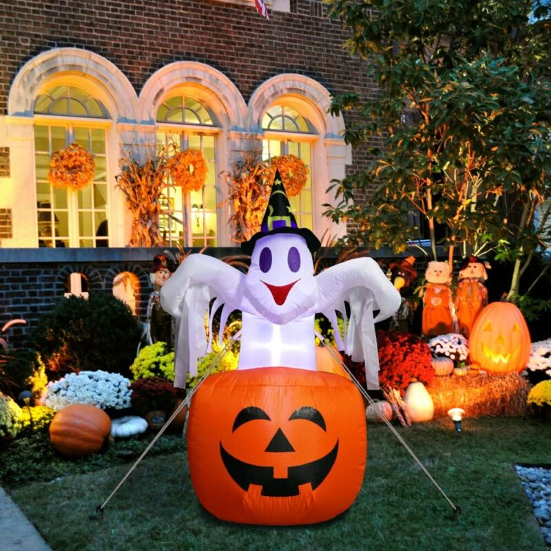 Halloween Air Blown Inflatable Pumpkin Ghost Light Up Outdoor Yard Decoration