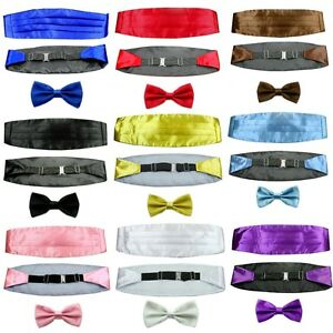 Set-Mens-Adjustable-Pleated-Solid-Color-Design-Cummerbund-Bowtie-Pre-Tied-LJYFH