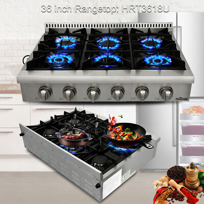 Thor Kitchen 36  Gas Rangetop Cooktop Stainless Wall Oven  6 Burner  Hrt3618u