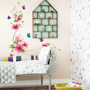 Wall Stickers Art Flower Butterfly Removable Decal Glass