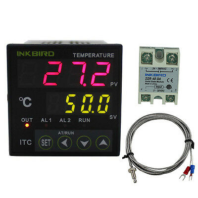 Digital Pid Temperature Controller Thermostat 110 240v 40da Ssrk Thermocouple