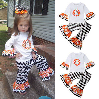 Baby Girls Halloween Outfit Cute Ghost Long Sleeve Tops+Long Pants Party Clothes - Cute Halloween Outfits